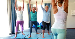 Trainer assisting senior citizens in performing stretching exercise. At home stock video