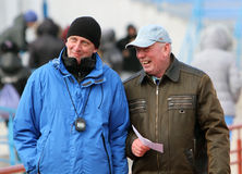 Trainer an den Spur-u. Feld-Meisterschaften stockfoto