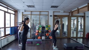 Trainer do exercises with barbell with her group of women in studio. stock video footage