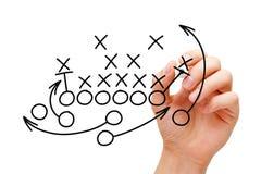 Trainer-Drawing American Football-Textbuch-Strategie lizenzfreie stockfotografie