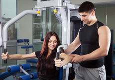 Trainer in a fitness center stock photo