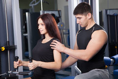 Trainer in a fitness center stock image