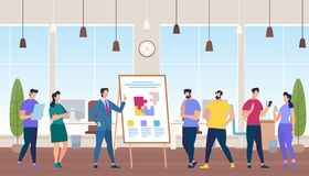 Trainer at Flip Board Teach Team Work in Office. Creative Team Idea Discussion People. Business Men and Women Characters in Working Environment. Education with royalty free illustration