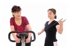 Trainer forcing to exercise Royalty Free Stock Photography