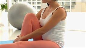 Trainer holding pregnants leg. In studio stock video