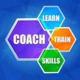 Trainer, lernen, bilden, Fähigkeiten in den Hexagonen, flaches Design aus lizenzfreie abbildung