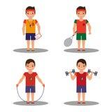 Trainer mit 4 Bildern mit verschiedenen Oberteilen in der Karikaturart Stockfotografie