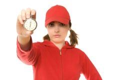 Trainer mit Stoppuhr (Fokus auf Stoppuhr) lizenzfreie stockfotografie