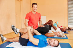 Trainer and people during rehab class Royalty Free Stock Photo