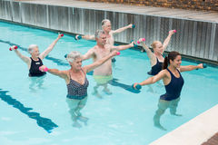 Trainer with senior people exercising in swimming pool. High angle view of trainer with senior people exercising in swimming pool Royalty Free Stock Images