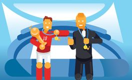 Trainer and soccer player celebrate with trophy and winner coin. In stadium vector illustration Royalty Free Stock Photo
