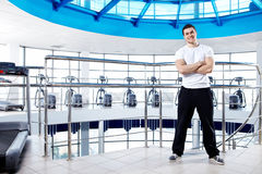 The trainer in a sports hall Stock Photo