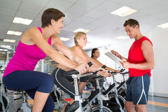 Trainer talking with his spin class Royalty Free Stock Photo