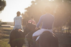 Trainer training women in riding horses at barn. Rear view of trainer training women in riding horses at barn Royalty Free Stock Photography