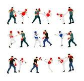 Trainer und Taekwondo-Kämpfer vector die Illustration, die auf Weiß lokalisiert wird Sparringpartnerkampfkünste stock abbildung