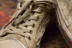Trainers. New brown trainers and laces texture Royalty Free Stock Photos