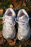Trainers on autumn leaves. Overhead view of training shoes on top of autumn leaves Royalty Free Stock Images