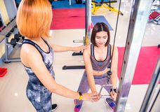 Trainers in the gym are taking care of the members of the gym. Trainers in the gym are taking care of the members of the gym royalty free stock photos