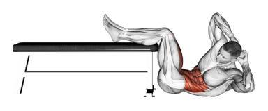 trainieren Einsturztorso mit dem Schienbein auf der Bank Stockfoto