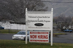 TRAININ PROVIDED HOW HIRING. Lewiston . Idaho state. USA _Training provied now hiring for attendantss CNA and nurses for professional in-home health care and royalty free stock photography