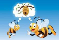 Training. Vector illustration of honey bee coaching a newbie on its first day