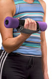Training. Practicing girl, holds dumb-bells in a hands stock photos