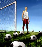 Training. A soccer player in a stadium Stock Photo