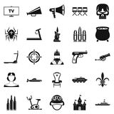 Training actor icons set, simple style. Training actor icons set. Simple set of 25 training actor vector icons for web isolated on white background Royalty Free Stock Photography