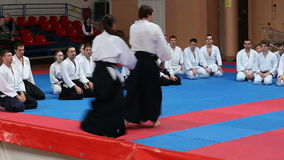 Training of aikido fighters stock video footage