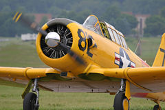 Training aircraft. SNJ trainer taxiing on runway Royalty Free Stock Image