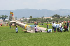 training aircraft crashed in paddy Stock Photography