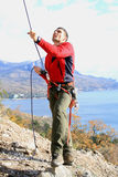 Training of alpinist Stock Photography