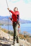 Training of alpinist Stock Photography