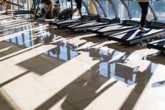Training apparatus in gym hall. royalty free stock photos
