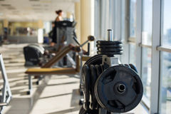 Training apparatus in gym hall. royalty free stock photography
