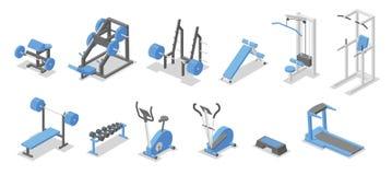 Training apparatus for the gym. Isometric set of fitness equipment symbols. Flat vector illustration. on white stock illustration