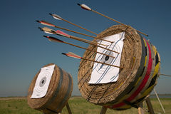 Training in archery on open air. Royalty Free Stock Photo
