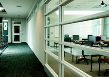 Training area. Contemporary corporate training room and hallway stock images