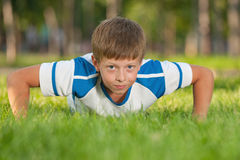Training athletic boy Royalty Free Stock Photo
