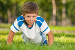 Training athletic handsome boy Royalty Free Stock Images