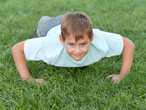 Training athletic kid Stock Images