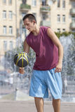 Training with a ball. Royalty Free Stock Photography