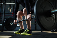 Training with barbell Royalty Free Stock Photography