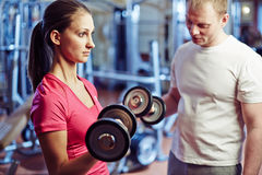 Training with barbells Royalty Free Stock Photo