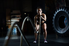 Training with battle rope Royalty Free Stock Photography