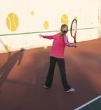 Training on the big tennis. Royalty Free Stock Image