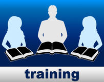 Training Books Shows Learning Instructing And Instruction. Training Books Representing Instructing Seminar And Webinar Royalty Free Stock Photography