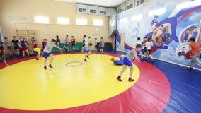 Training boxers teens stock footage