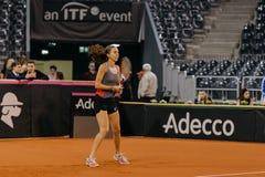 Training Buzarnescu Mihaela bei Fed Cup Rumänien 2018 lizenzfreie stockfotografie