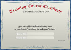Training Certificate. Old Style Blank Training Certificate Royalty Free Stock Image